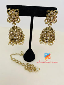 Champagne Polki Necklace Jhumki Earrings Tikka Set