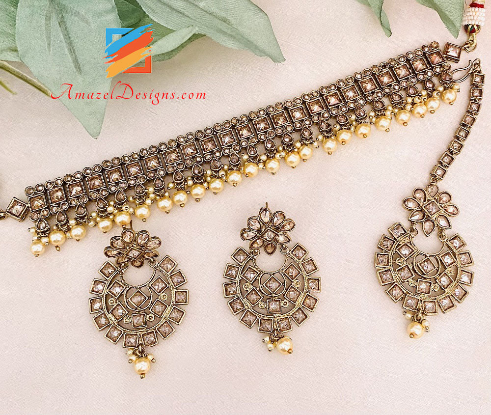 Champagne Polki Choker Earrings Tikka Set