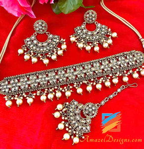 Champagne Polki Choker with Earrings Tikka Set
