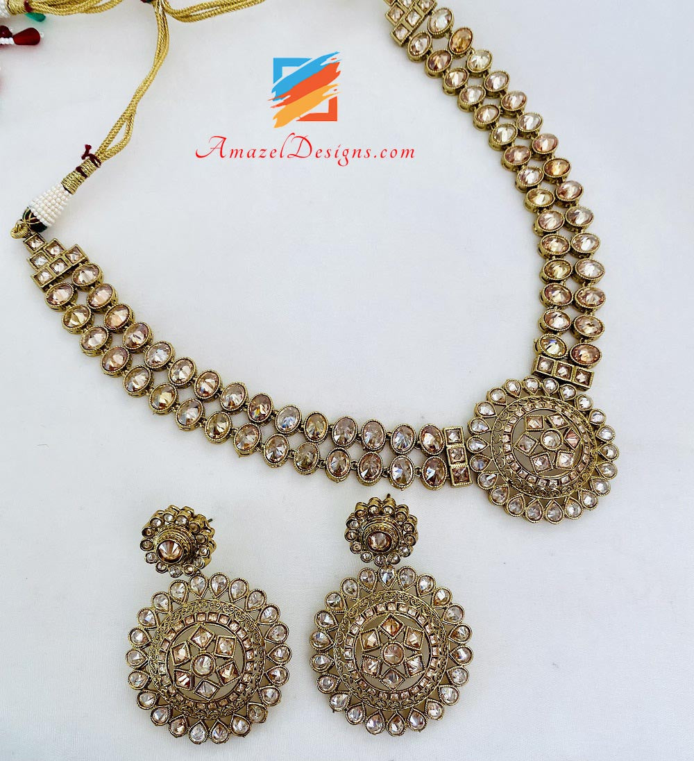 Champagne Polki Necklace Earrings Tikka Set