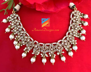 Champagne Single Line Necklace With Earrings and Tikka Set
