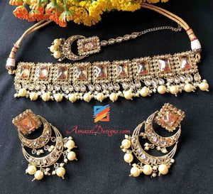 Champagne Color Choker Earring Tikka Set