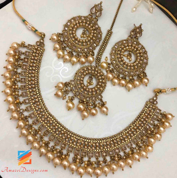 Champagne Color Necklace Earrings Tikka Set