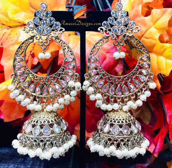 Champagne Earrings with Jhumki