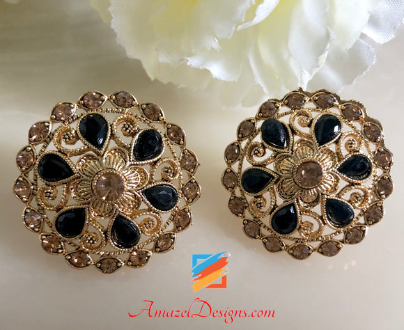 Champagne Stud Earrings with Black Stone