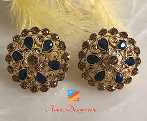 Champagne Stud Earrings with Dark Navy Blue Stone