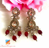 Champagne Color Earrings Ruby Pearls