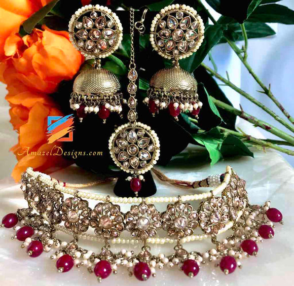 Champagne Color Dull Golden Choker with Maroon beads and Jhumkas Earrings Tikka Set