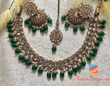 Clear Polki with Emerald Beads Jhumki Necklace Set