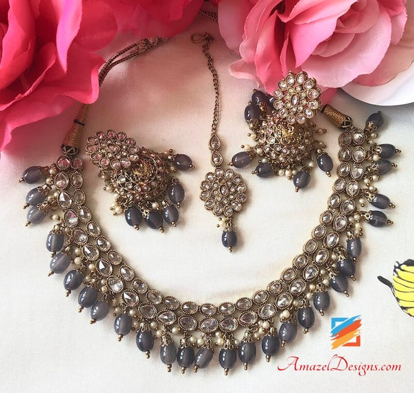 Clear Polki with Grey Pearls Jhumki Necklace Set