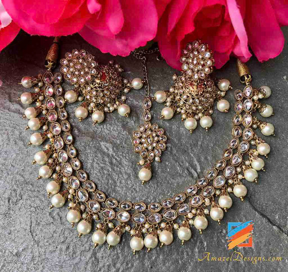 Clear Polki with Off White Pearls Jhumki Necklace Set