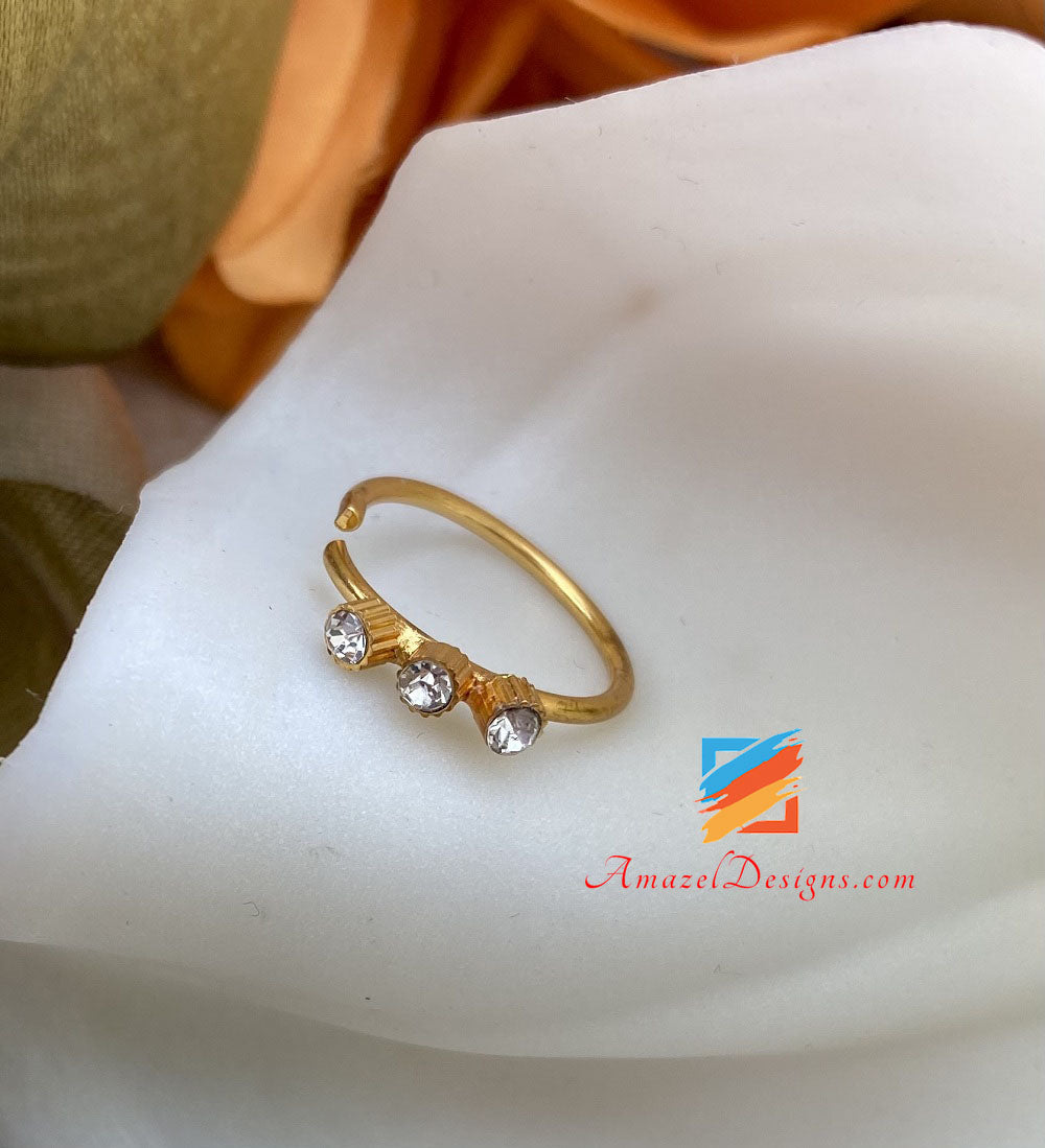 Clip On Golden Nose Ring with Stone