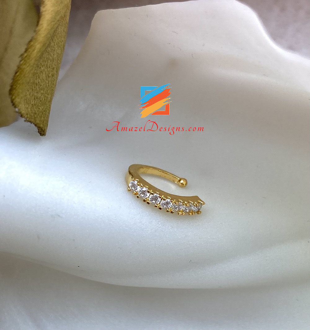 Clip On Golden Nose Ring with Stones