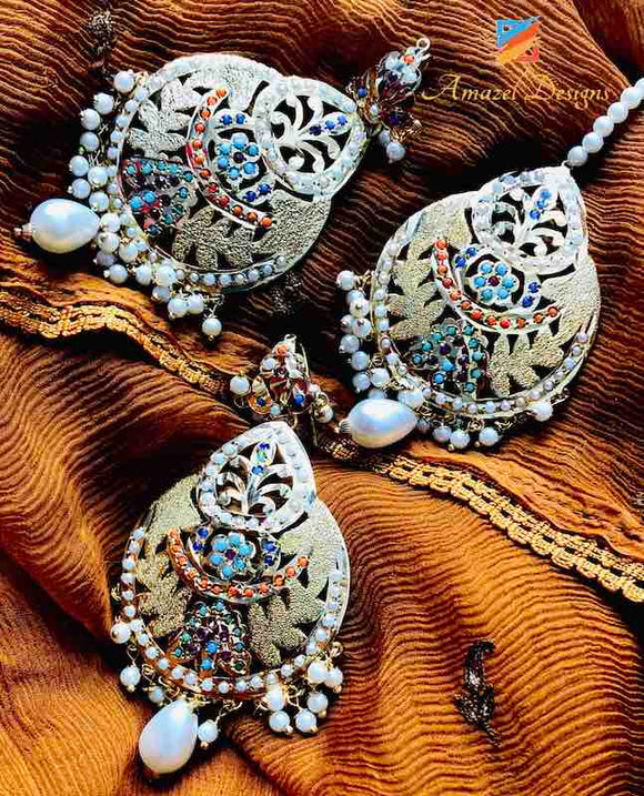 Colored Jadau Earring tikka set with Hanging Pearl