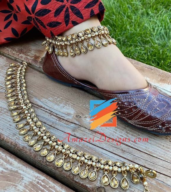 Dark Champagne Stone with Hanging Drop Charms Payal