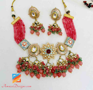Dark Peach With Multicoloured Hand Painted Meenakari Necklace Earrings Set