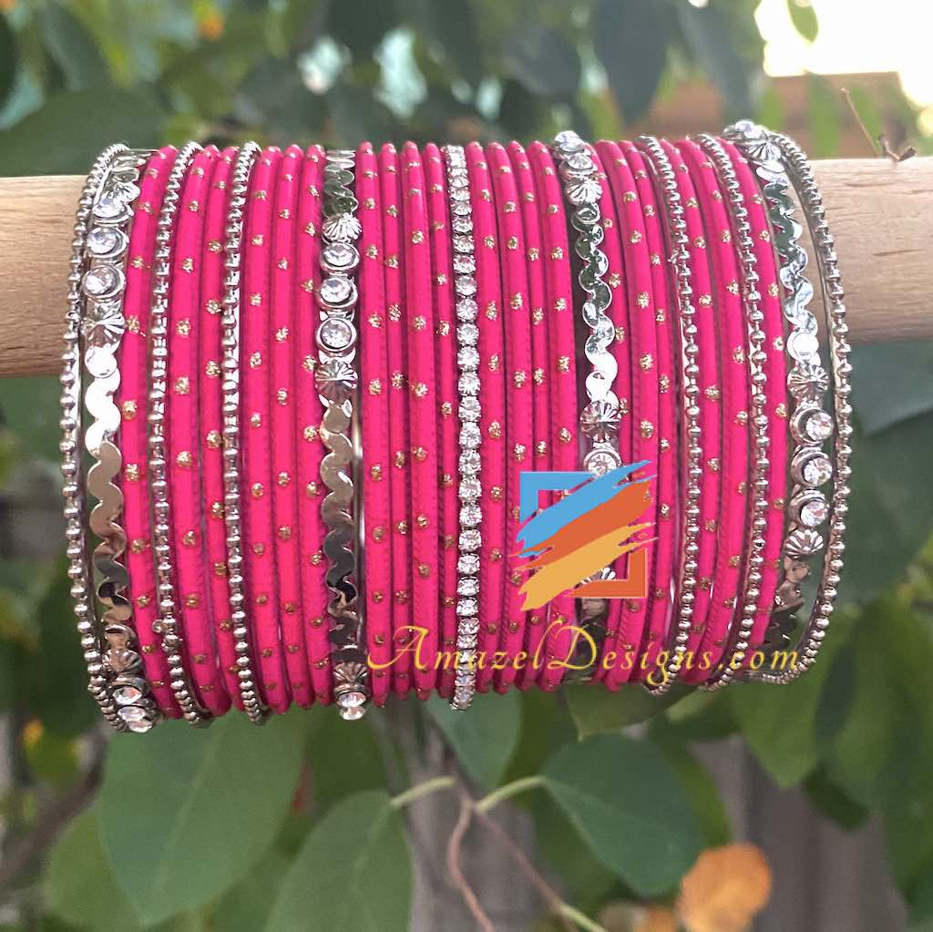 Dark Pink Silver Bangle Set