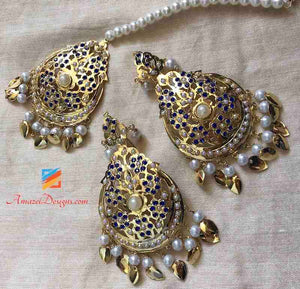 Dark Blue Jadau Pippal Patti Earring Tikka Set