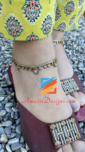Dull Gold Anklet With White And Champagne Stones