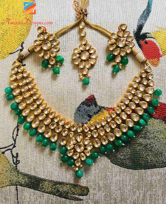 Elegant Kundan with Green Pearls Earrings Tikka Necklace Set