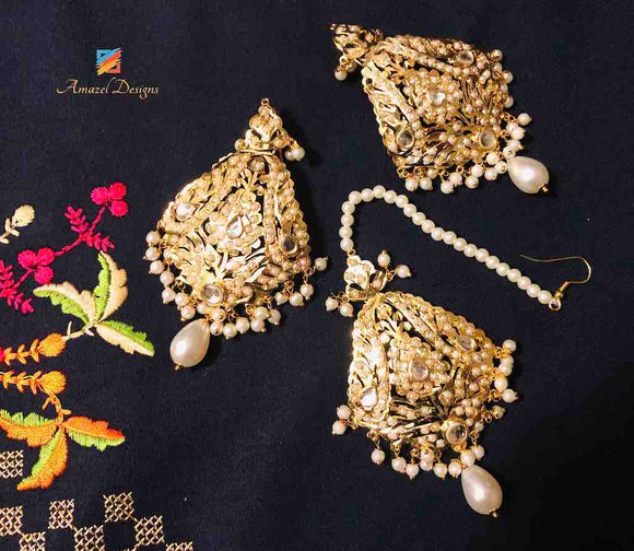 Earring Tikka Set - Golden White Jadau Pearls