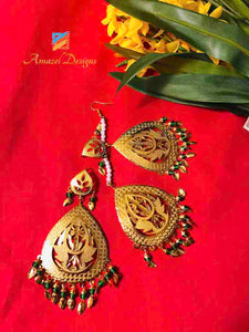 Traditional Earring Tikka Set - Golden with Green Pippal Patti