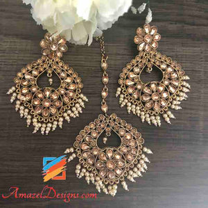 Earring Tikka Set - Champagne Color