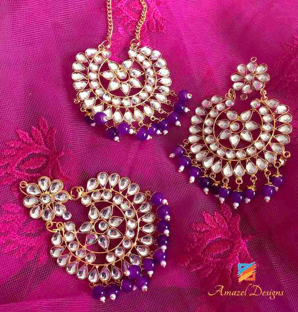 Earring Tikka Set Purple Kundan
