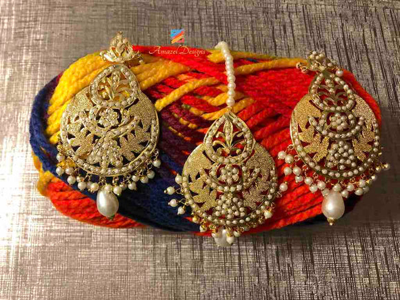 Earring Tikka Set White Jadau Pearls