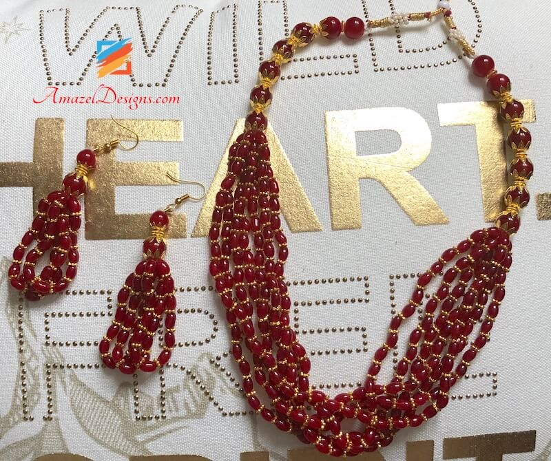 Elegant Red and Golden Mala Set