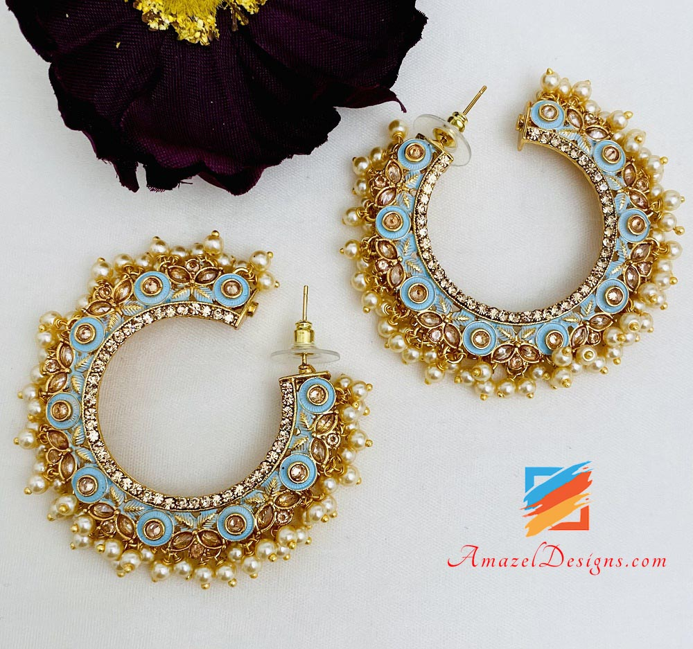 Feerozi Painted Pearly Polki Hoops