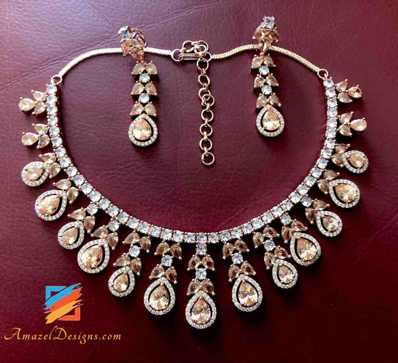 Gold and Silver American Diamond AD Necklace and Earrings set