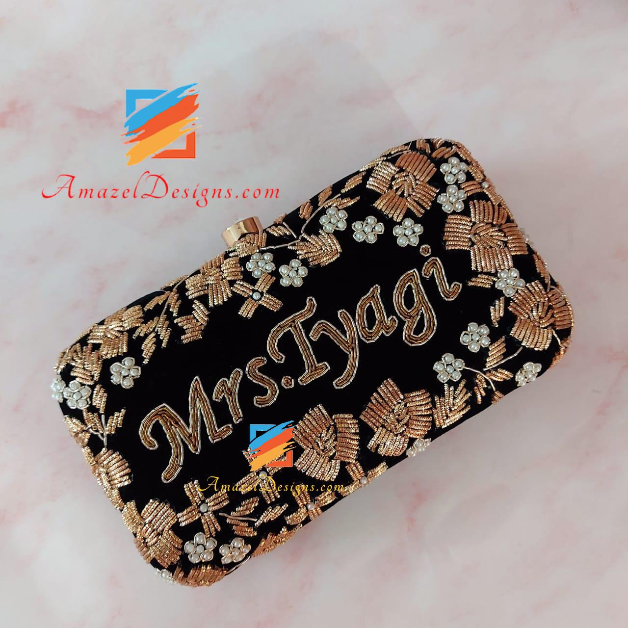 Golden Black Embroidery Clutch