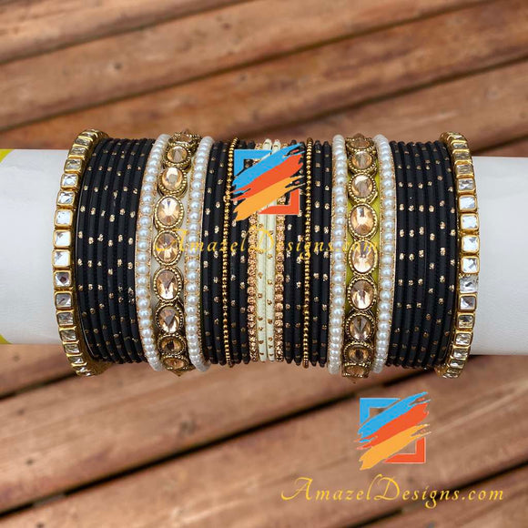 Golden Black Polki Kundan Bangle Set