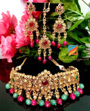 Golden Choker with Emerald and Magenta Pearls