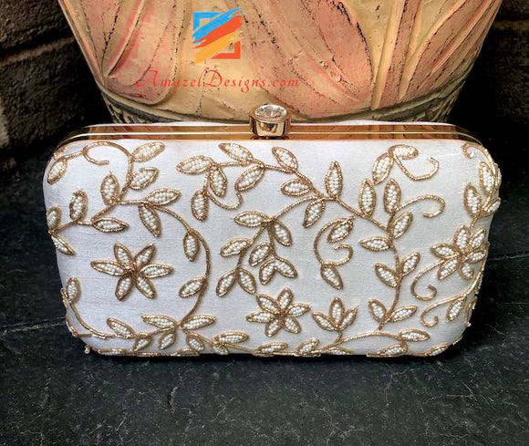 Golden Dabka And White Beads Work Clutch