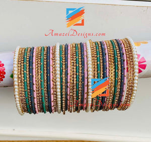 Golden Green Pink Bangle Set