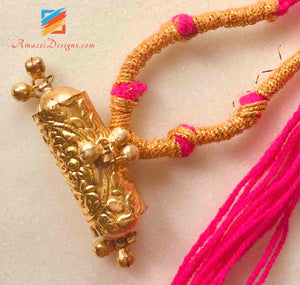 Golden Jugni with Ghungroo and Magenta Dori
