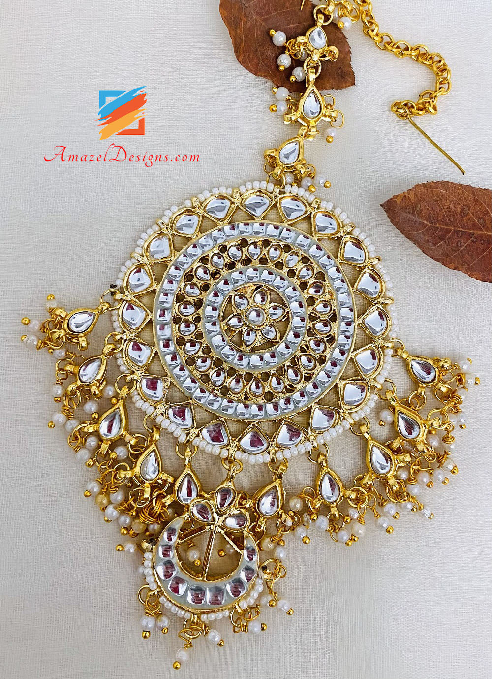 Golden Kundan Oversized Earrings Tikka Set