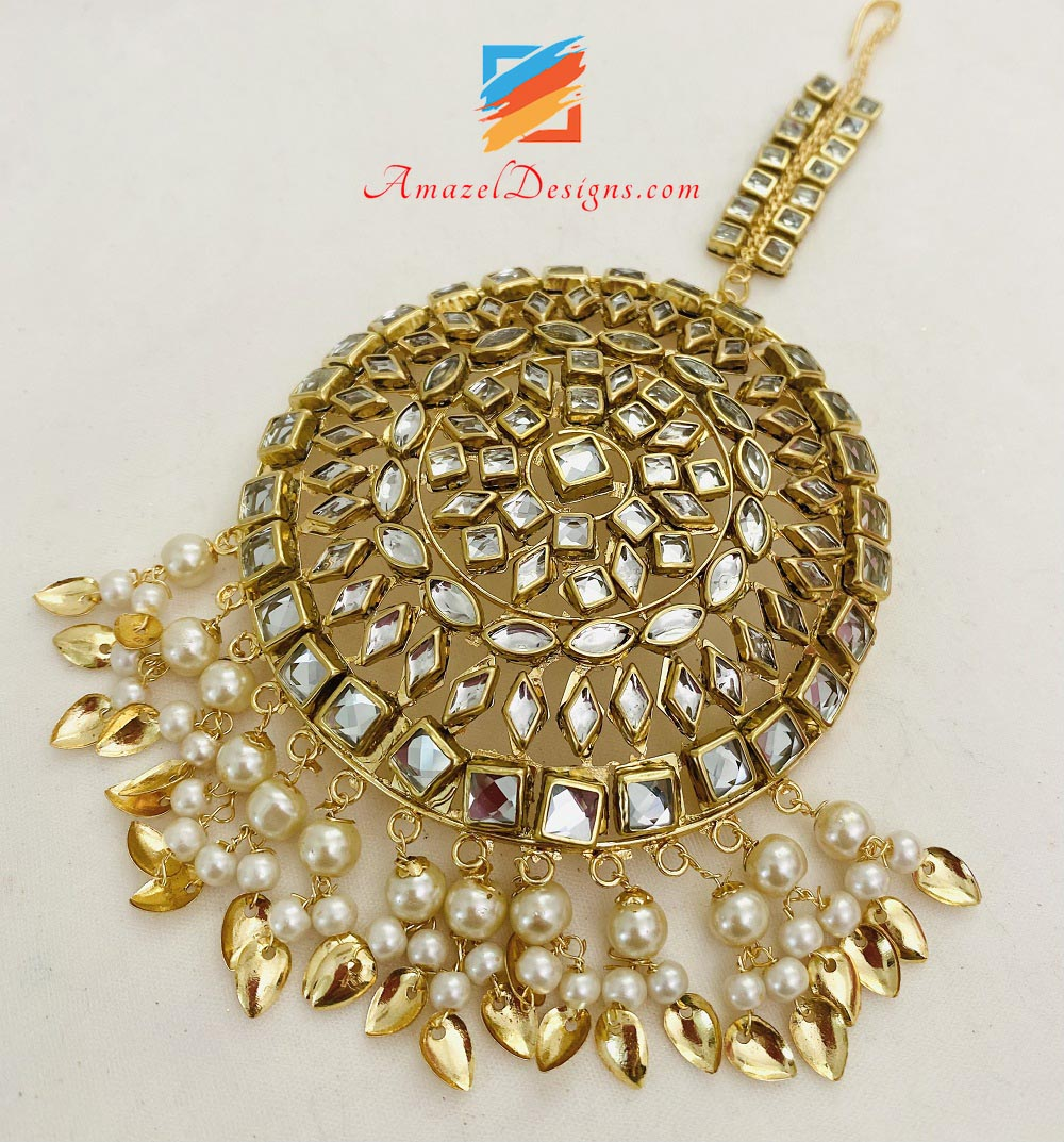 Golden Kundan Oversized Pipal Patti Tikka