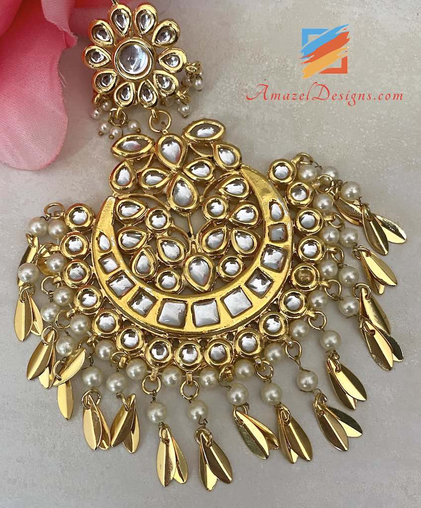 Golden Kundan Pippal Patti Oversized Cream Beads Tikka Set