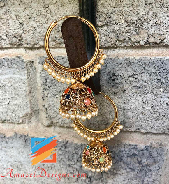 Golden Multicoloured Vaali with Jhumki