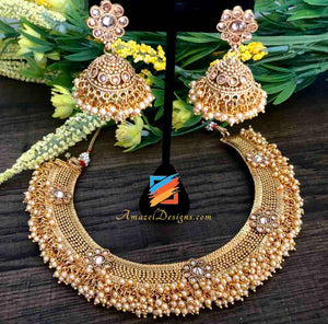 Golden Necklace with Bunches of Peach Beads