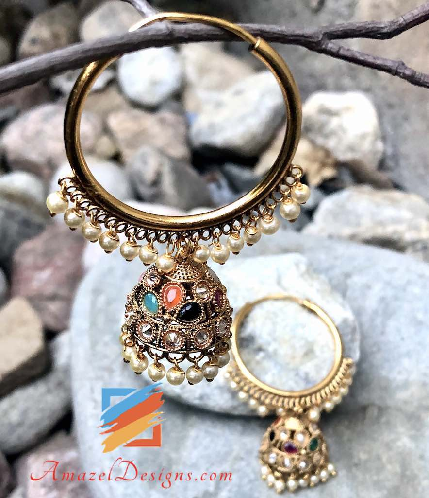 Golden Normal Size Multicoloured Waali Jhumki