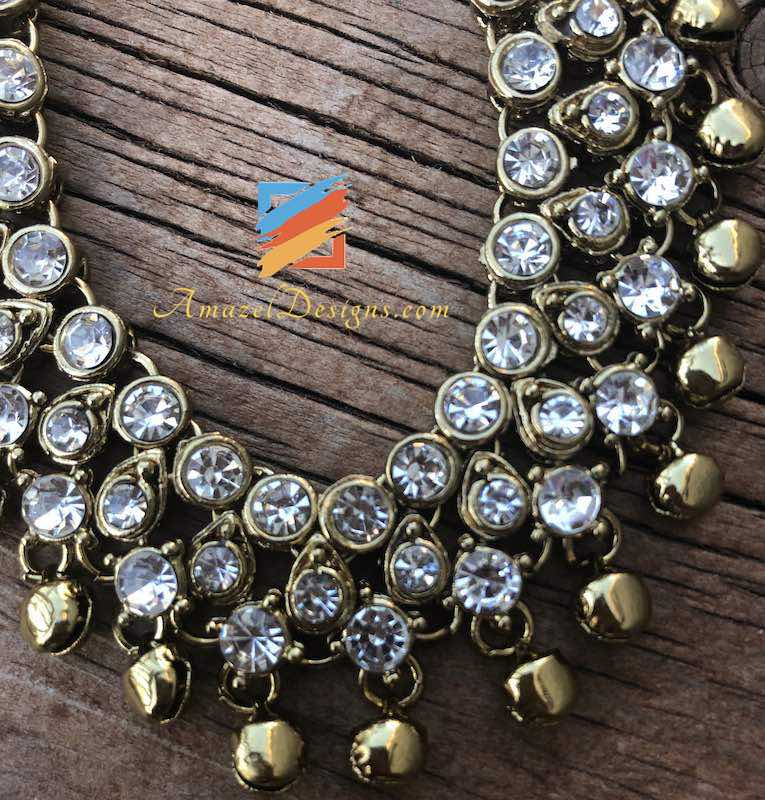 Golden Payal with White Stones and Ghungroo