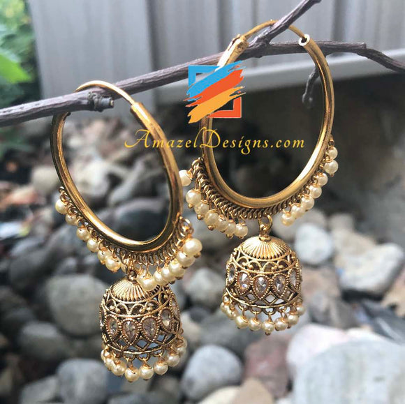 Golden Polki Waali with Small Jhumki