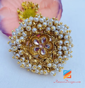 Golden Ring With Pearls Bunches