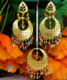 Golden Traditional Multicoloured Pipal Patti Earrings Tikka Set