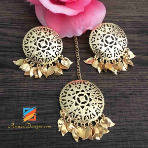 Golden Stud Pippal Patti Very Lightweight Earring Tikka Set