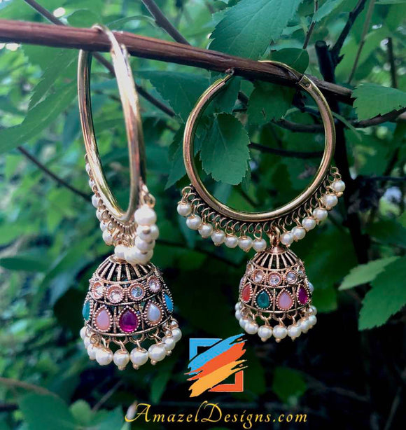 Golden Walli with Multicoloured Small Jhumki